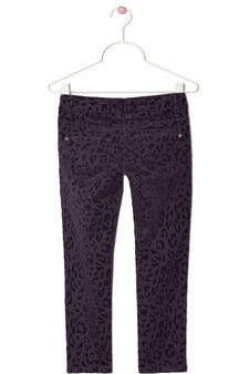 Stretch cotton animal print trousers, Purple, hi-res