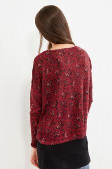 Teen sweatshirt with floral pattern, Black/Red, hi-res