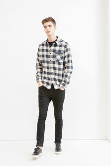 Check shirt in 100% cotton with zip, Grey, hi-res