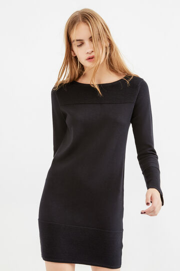 Viscose and cotton dress with ribbing, Black, hi-res