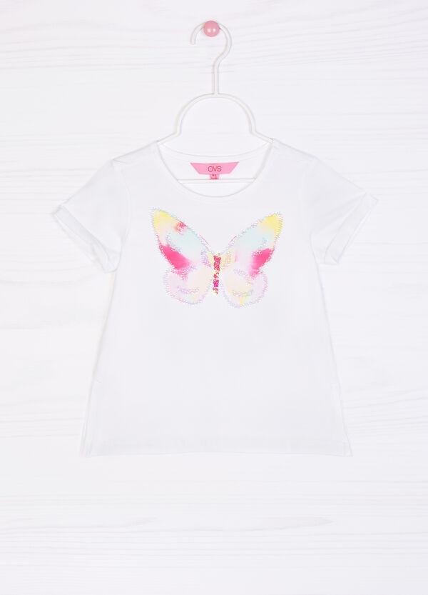 Stretch cotton diamanté T-shirt | OVS