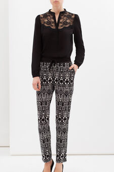 Pantaloni stretch fantasia, Nero/Bianco, hi-res
