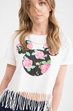 100% cotton T-shirt with long fringes, Milky White, hi-res