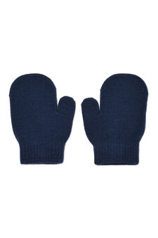 Solid colour gloves with pattern, Navy Blue, hi-res
