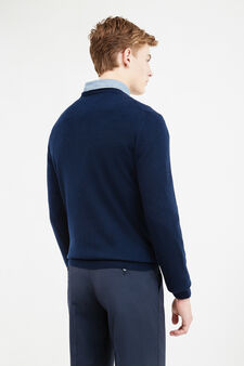 Solid colour cashmere and silk pullover, Navy Blue, hi-res