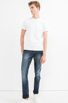 Worn-effect, stretch jeans with whiskering, Medium Wash, hi-res