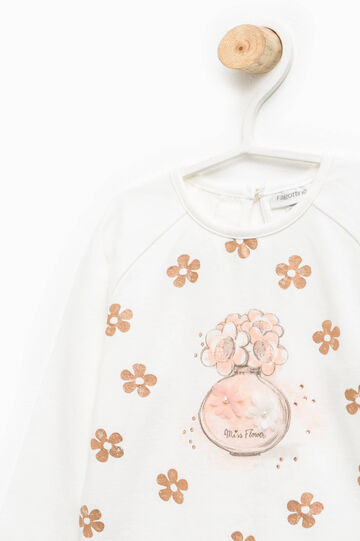 Floral patterned T-shirt with round neck, Milky White, hi-res