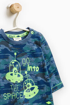 100% cotton hoodie with camouflage pattern, Blue, hi-res