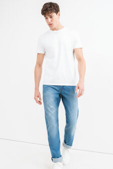 Worn-effect, straight fit jeans with whiskering, Denim, hi-res