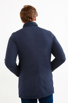 Solid colour jacket with high neck, Navy Blue, hi-res
