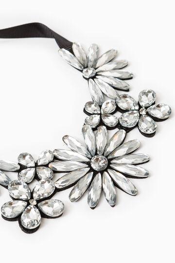 Necklace with heart-shaped diamanté, Black, hi-res