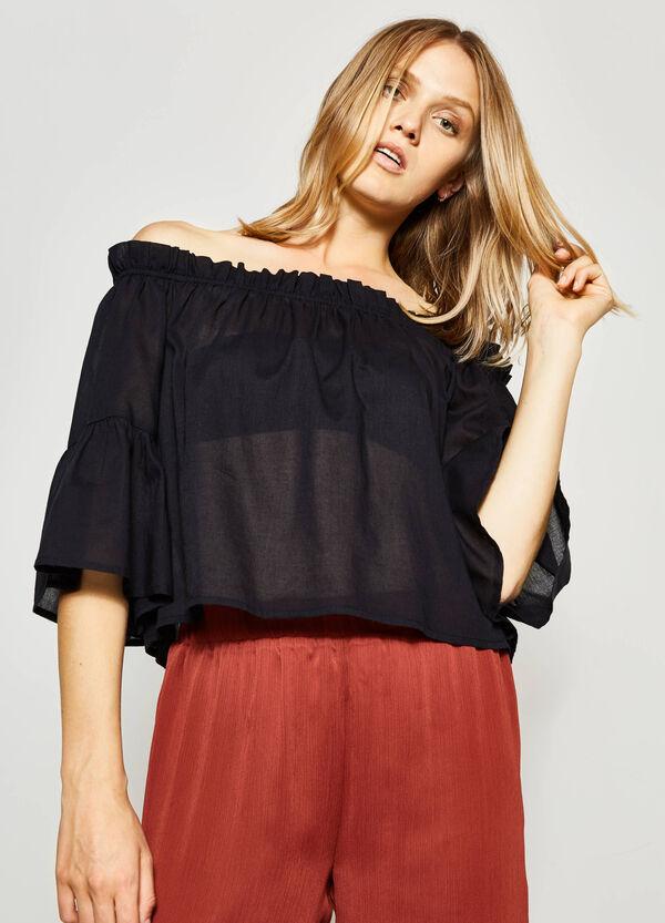 Blusa in cotone scollo a barchetta | OVS