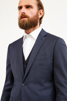 Elegant, slim-fit, pure wool suit, Blue, hi-res