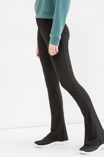 High-waisted stretch ribbed trousers, Black, hi-res