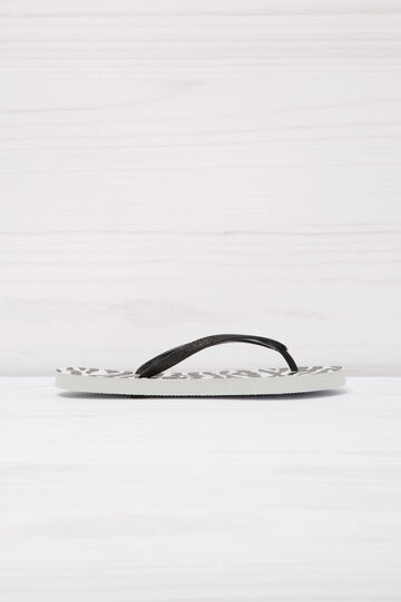 Animal print thong sandals., White/Black, hi-res