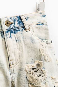 Misdyed-effect denim shorts with rips, Denim, hi-res