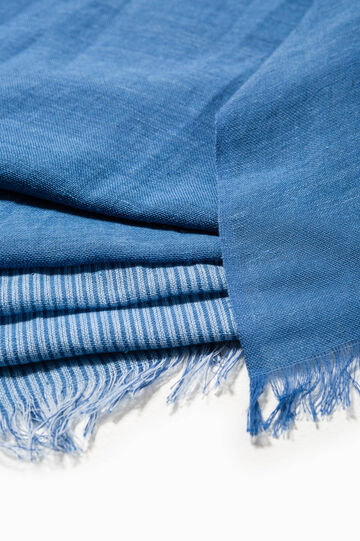 Two-tone scarf in cotton, Azure, hi-res