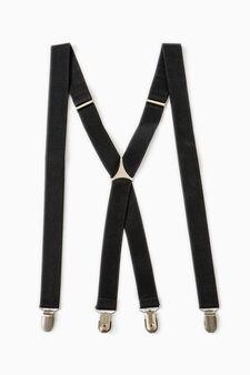 Solid colour braces with clip, Black, hi-res