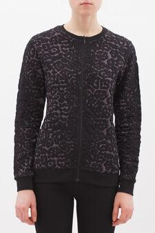 Stretch cotton blend sweatshirt with zip, Black/Grey, hi-res