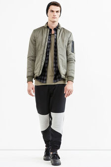 Solid colour bomber jacket with high neck, Army Green, hi-res