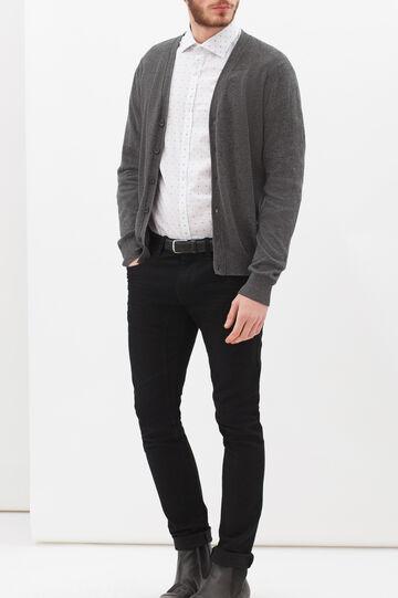 Camicia fantasia in puro cotone, Bianco, hi-res