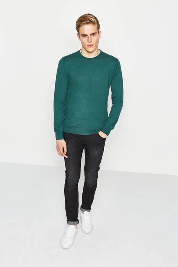 100% cotton crew-neck pullover, Dark Green, hi-res