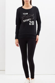 Sequinned sports T-shirt, Black, hi-res