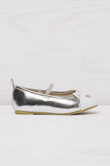 Ballerina flats with cat patch toe, Grey/Silver, hi-res