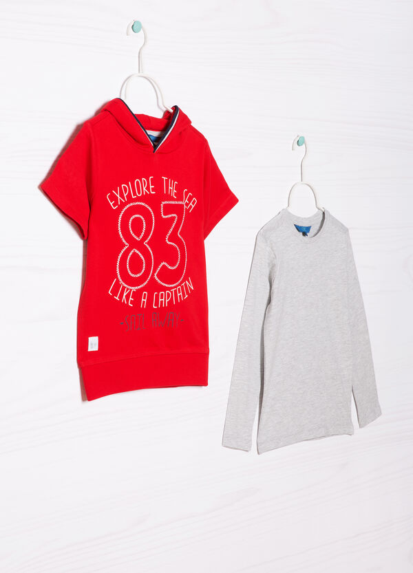 Cotton T-shirt and sweatshirt outfit | OVS