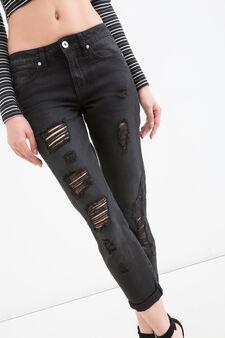 Jeans girlfriend fit con strappi, Nero, hi-res