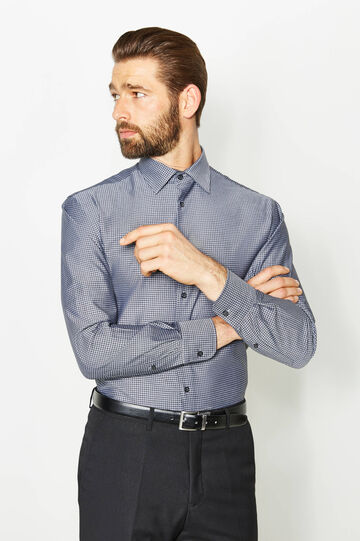 Regular-fit formal shirt with hounds' tooth pattern, Grey, hi-res
