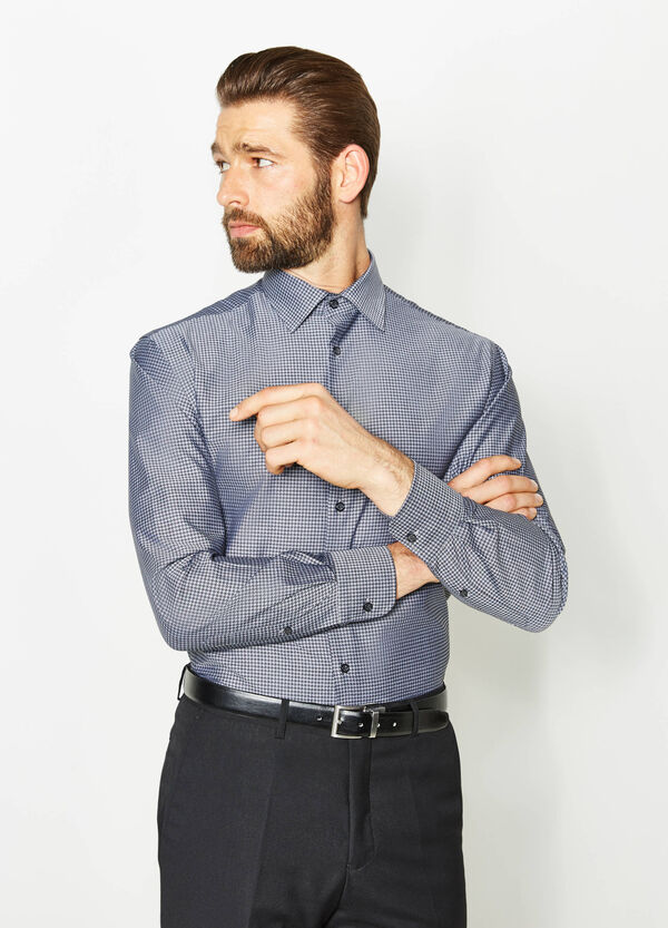 Regular-fit formal shirt with hounds' tooth pattern | OVS