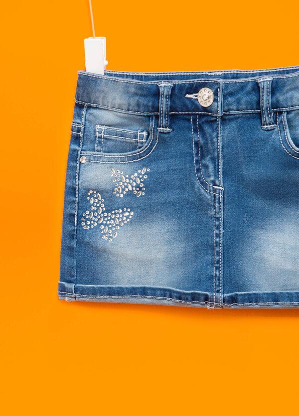 Stretch denim skirt with diamantés | OVS