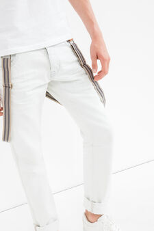 Solid colour jeans with striped braces, White, hi-res