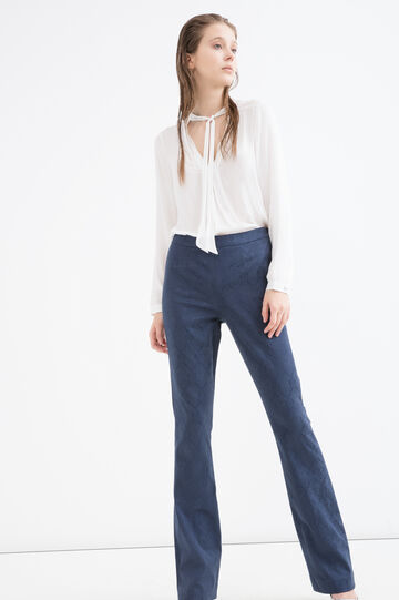 Pantaloni lavorazione jacquard, Blu navy, hi-res