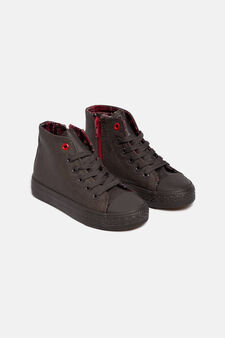 Imitation leather sneakers, Dark Brown, hi-res