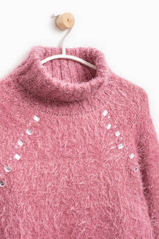 Pullover with high neck, lace and diamanté motif, Lilac, hi-res
