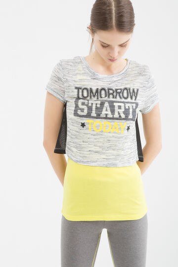 Printed sports T-shirt, Grey Marl, hi-res