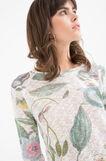 T-shirt girocollo con fantasia, Bianco/Verde, hi-res