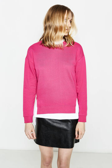 Cotton blend sweatshirt with slits, Dark Pink, hi-res