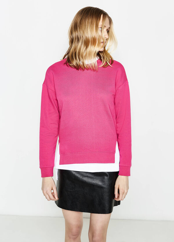 Cotton blend sweatshirt with slits | OVS