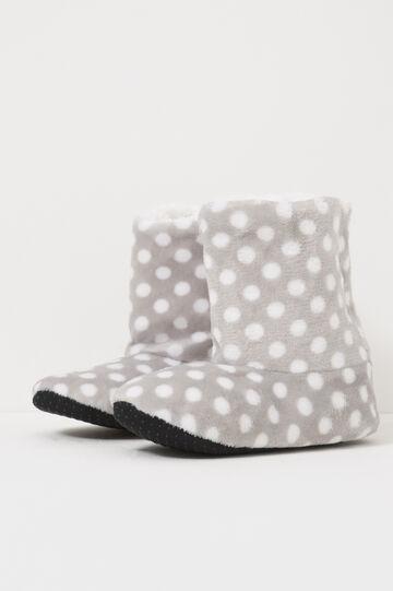 Polka dot slipper boots, White/Grey, hi-res