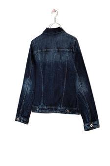 Medium wash denim jacket, Dark Blue, hi-res