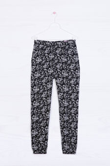 Printed trousers in 100% viscose, Off-white, hi-res