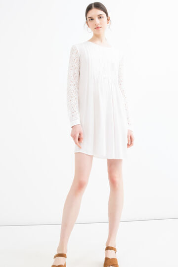 Solid colour viscose blend dress, Cream White, hi-res