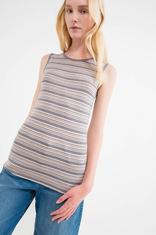 Ribbed top in 100% striped cotton | OVS