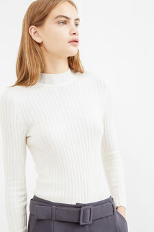 Ribbed pullover with high neck, Milky White, hi-res
