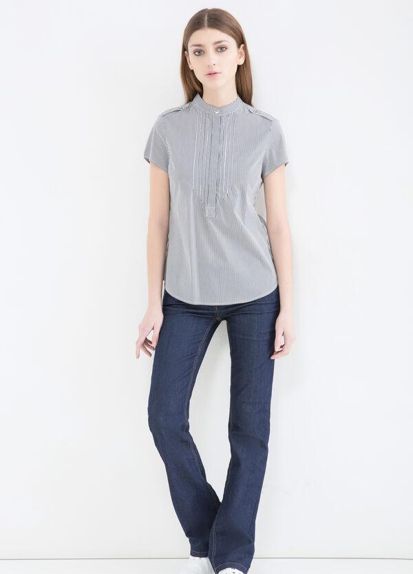 Stretch cotton blend patterned blouse | OVS