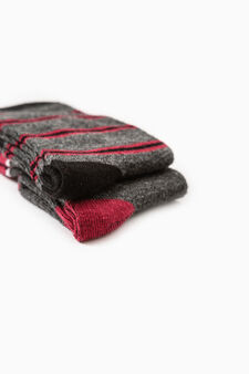 Set due paia di calze lunghe con ricami, Grigio melange, hi-res