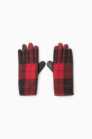 Tartan pattern gloves, Red, hi-res